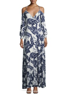 Rachel Pally Dominic Open-Shoulder Palm-Print Dress