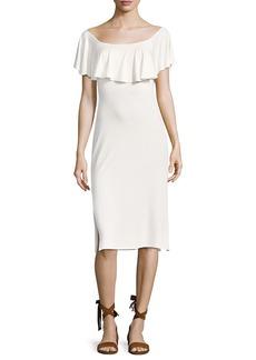 Rachel Pally Franka Solid Flounce Overlay Sheath Dress