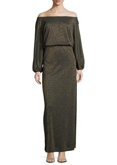 Rachel Pally Seaton Off-the-Shoulder Lurex Long Sweaterdress