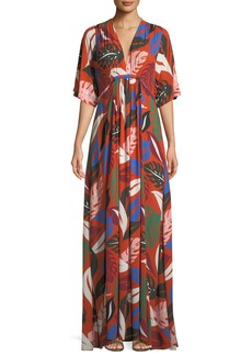 Rachel Pally Willow Crepe Botanical Leaf-Print Long Caftan Dress