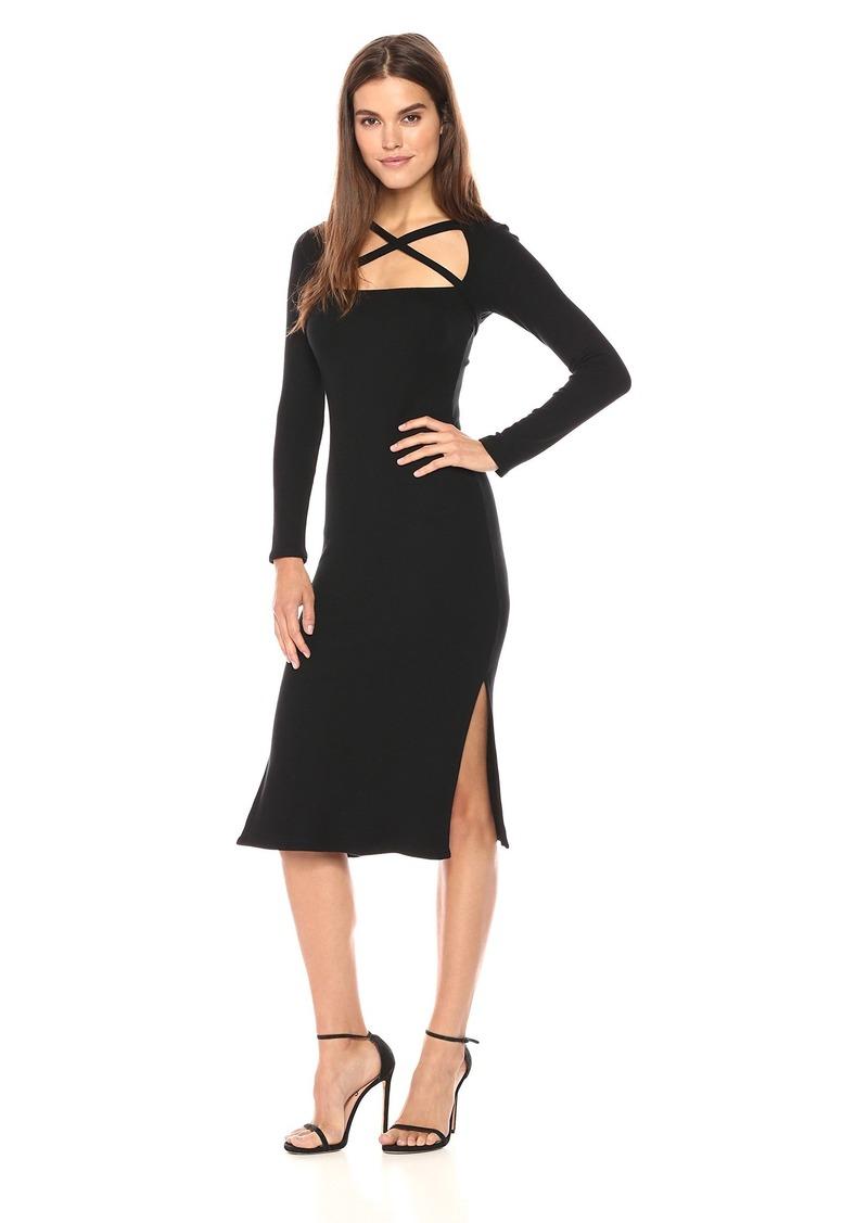 Rachel Pally Women's Luxe Rib Tie Neck Sheath Dress  L