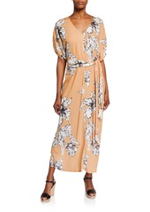 Rachel Pally Rae Floral-Print V-Neck Short-Sleeve Belted Crinkle Dress