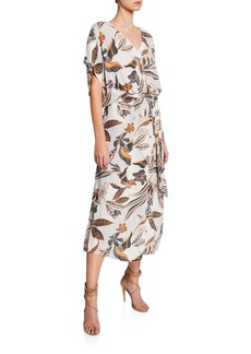 Rachel Pally Rae Printed Crepe Short-Sleeve Shift Dress