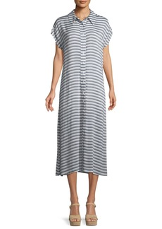 Rachel Pally Striped Button-Front Shirtdress  Plus Size