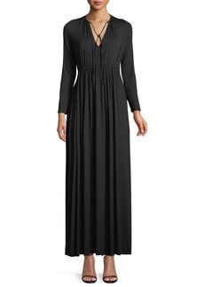 Rachel Pally Tatum Tie-Neck Long-Sleeve Long Jersey Dress