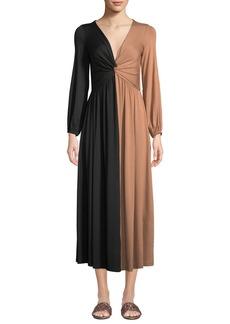 Rachel Pally Plus Size Two-Tone Twist Long-Sleeve Dress