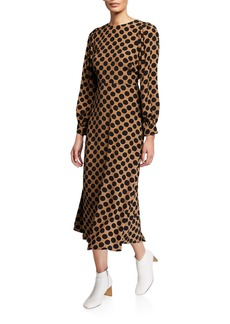 Rachel Pally Zola Dot-Print Long-Sleeve A-Line Dress