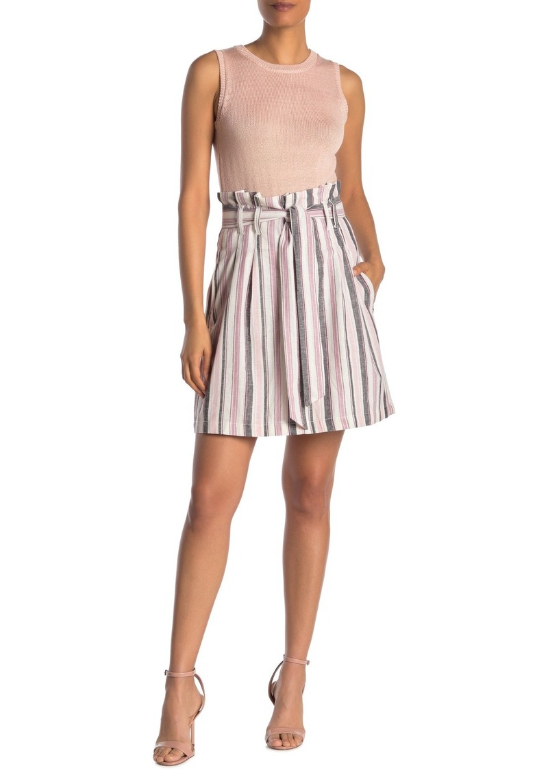 Rachel Roy Ania Striped Linen Blend Paperbag Skirt