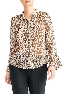 Rachel Roy Animal Print Ruffle Cuff Blouse