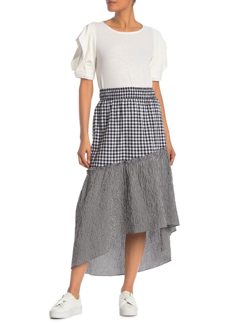 Rachel Roy Ava Gingham Asymmetrical Hem Skirt