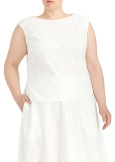 Rachel Roy Bateau Neck Sleeveless Cotton Blouse (Plus Size)