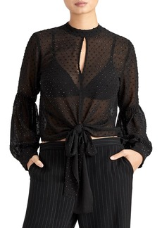 Rachel Roy Bead Detail Sheer Blouse