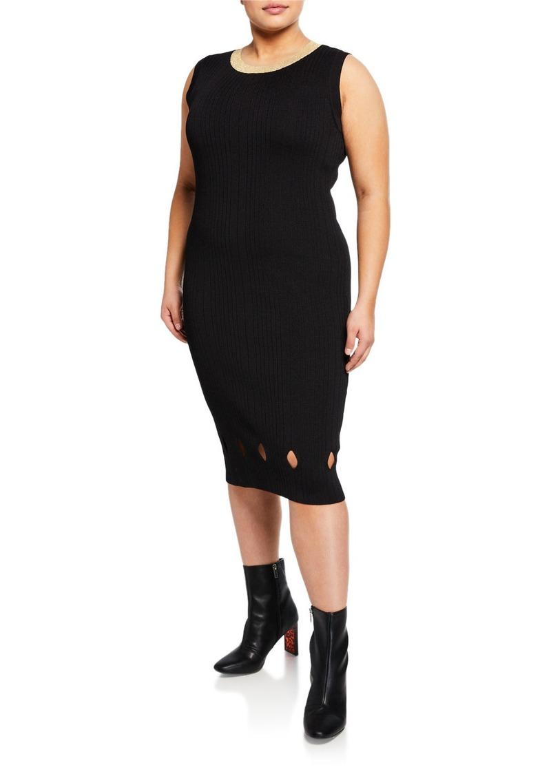 Camilla Glitter Neckline Ribbed Sweater Dress Plus Size