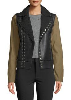 Rachel Roy Canvas-Sleeve Faux-Leather Moto Jacket