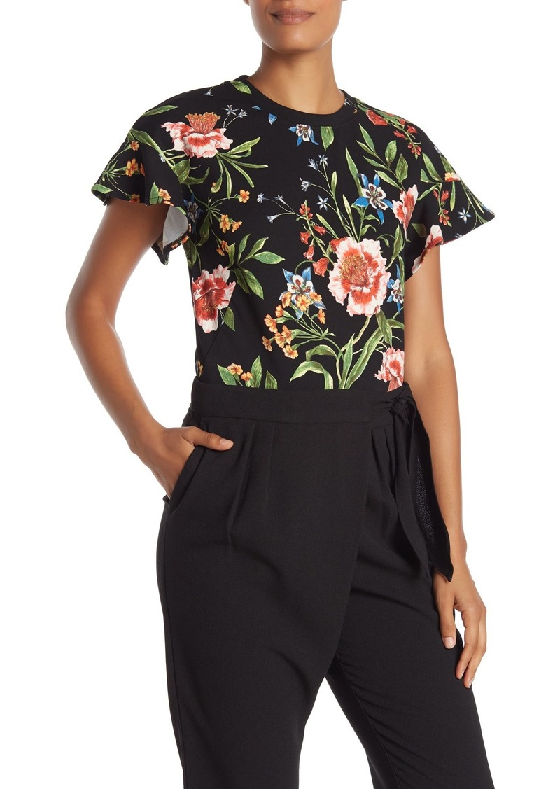 Rachel Roy Carlie Flutter Sleeve Floral Top