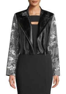 Rachel Roy Charlie Faux-Leather Jacket w/ Plaid Sleeves