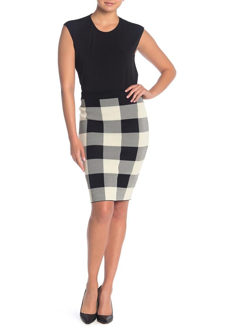 Rachel Roy Checkered Print Sweater Skirt