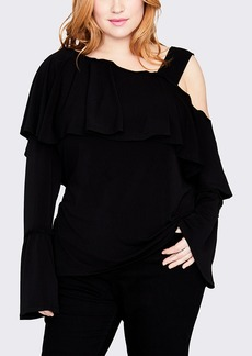 Rachel Roy Cold Shoulder Ruffled Long Sleeve Top (Plus Size)