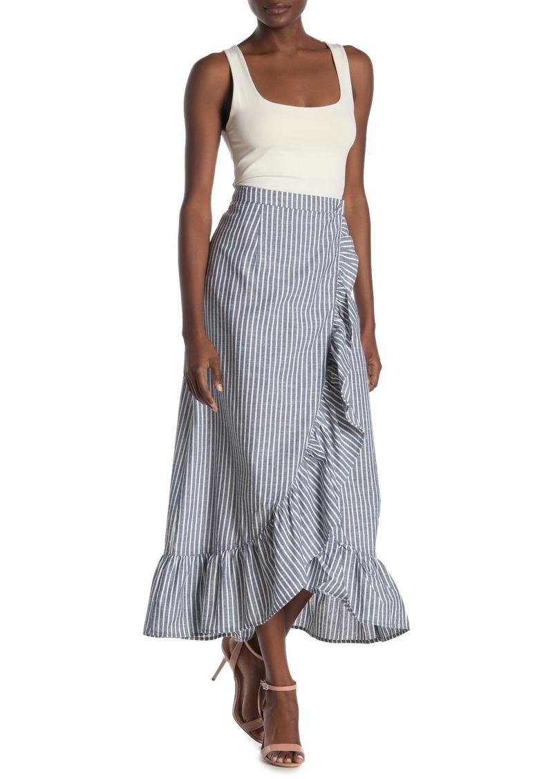 Rachel Roy Cruz Striped Ruffled Wrap Maxi Skirt