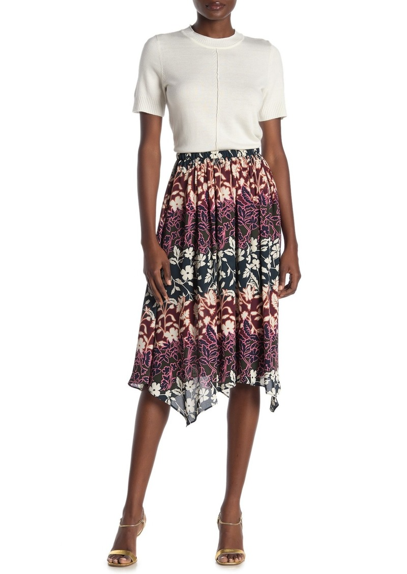 Rachel Roy Eden Floral Handkerchief Hem Skirt