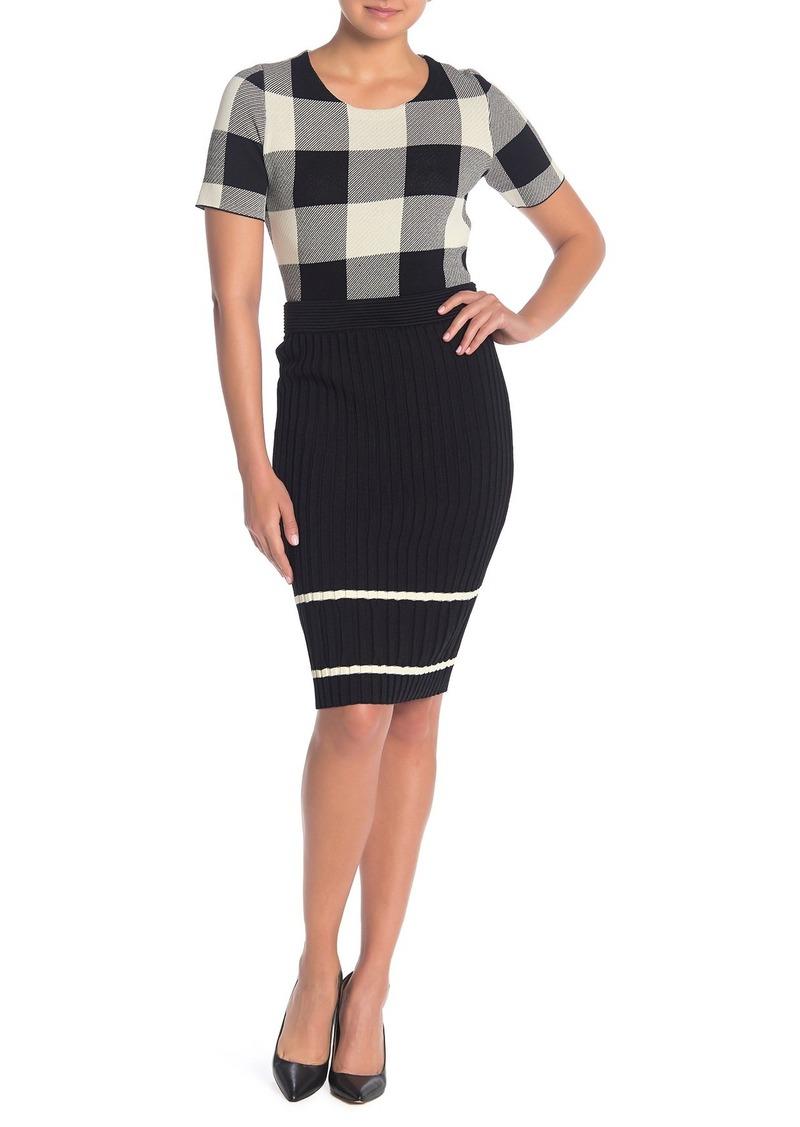 Rachel Roy Eden Ribbed Knit Stripe Pencil Skirt