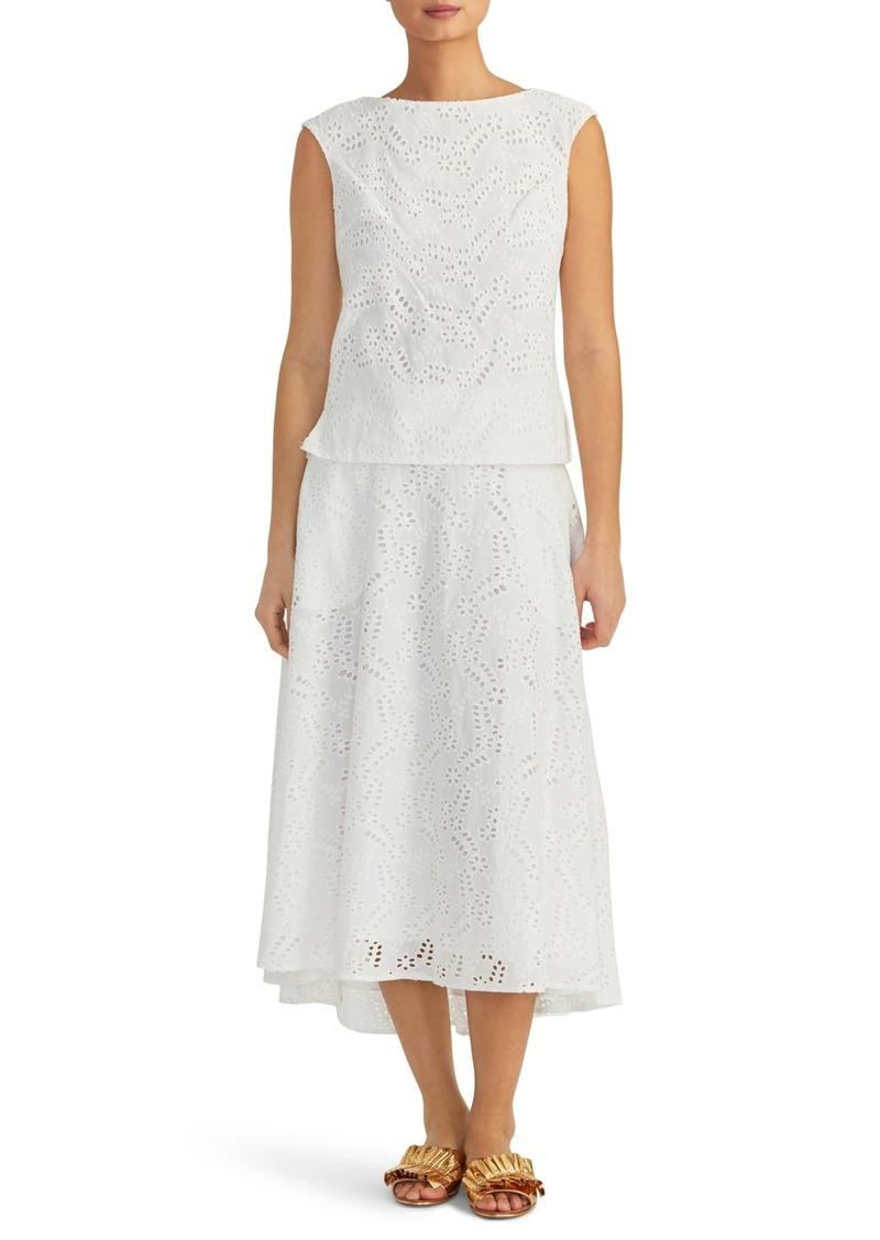 Rachel Roy Eyelet Cotton Midi Circle Skirt