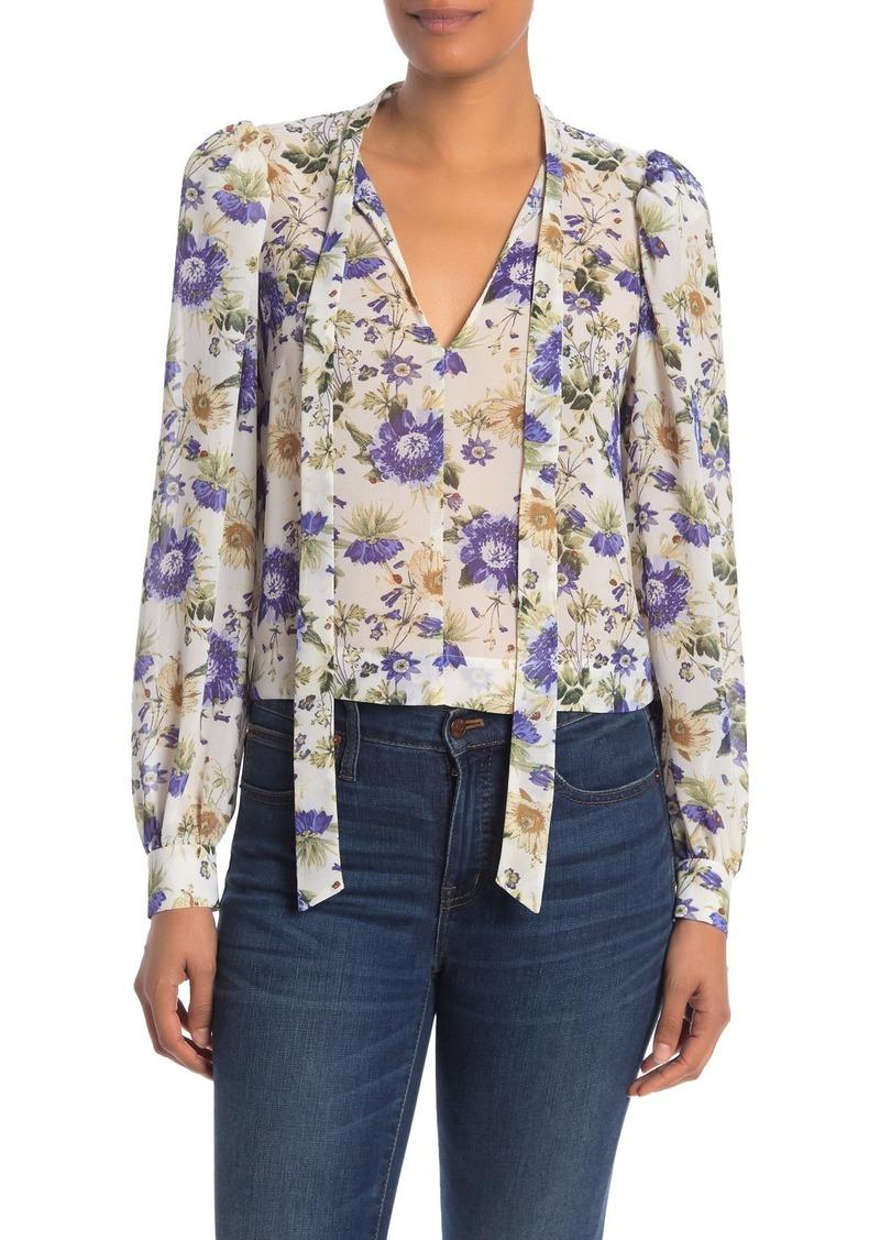 Rachel Roy Gail Floral Neck Tie Blouse (Regular & Plus Size)