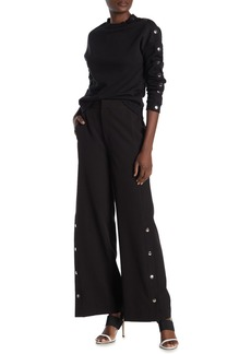 Rachel Roy High Waist Snap Button Wide Leg Pants