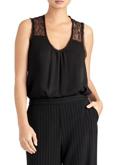 Rachel Roy Lace Detail Mix Media Sleeveless Blouse
