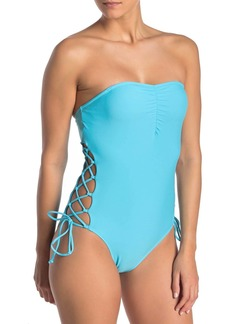 Rachel Roy Lace-Up Strapless One-Piece Swimsuit