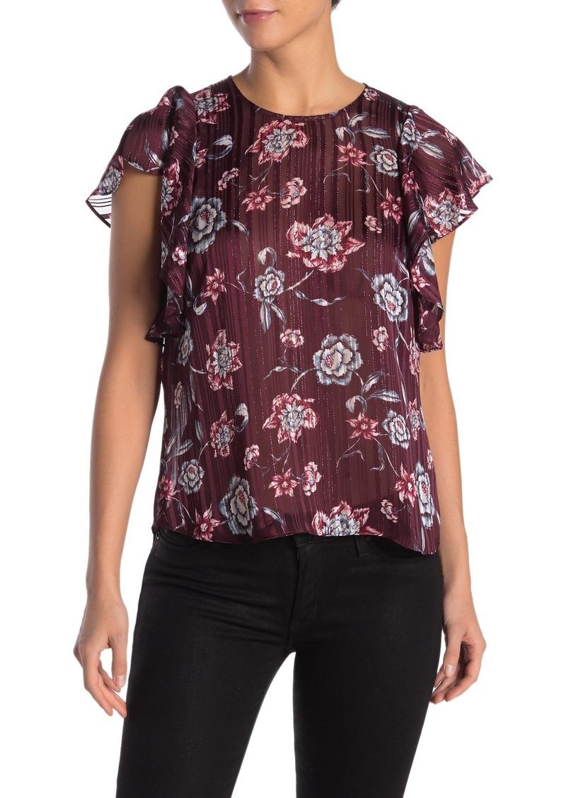 Rachel Roy Marni Floral Flutter Sleeve Blouse