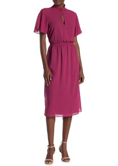 Rachel Roy Mock Neck Ditsy Geometric Dress