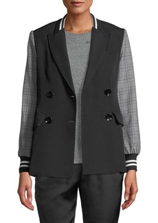 Rachel Roy Peyton Double-Breasted Blazer with Plaid Sleeves