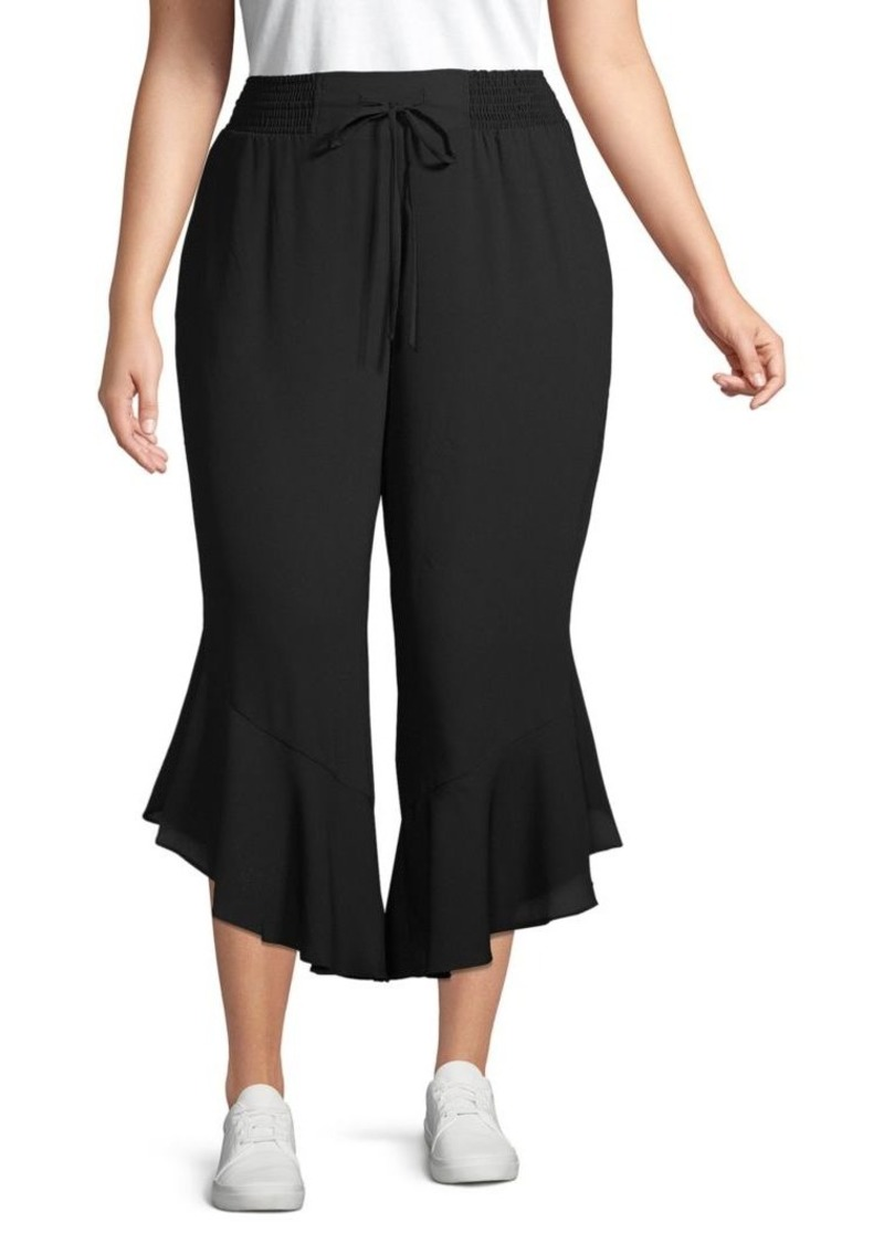 Rachel Roy Plus Ruffle-Trimmed Cropped Pants