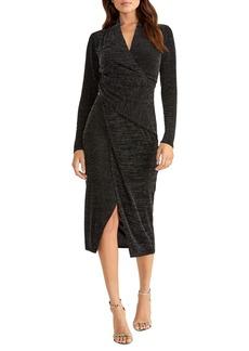 RACHEL Rachel Roy Bret Long Sleeve Faux Wrap Metallic Cocktail Dress