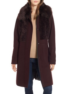 RACHEL Rachel Roy Faux Fur Trim Coat