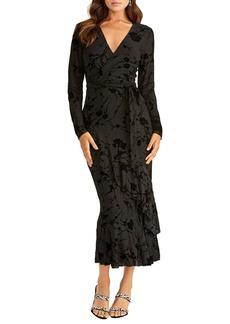 RACHEL Rachel Roy Flocked Velvet Long Sleeve Faux Wrap Dress