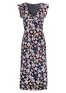 RACHEL Rachel Roy Floral Flutter Sleeve Midi Dress