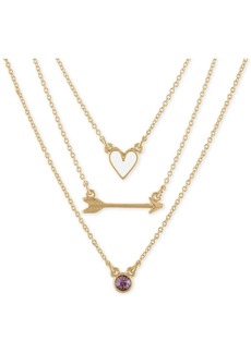 "Rachel Rachel Roy Gold-Tone 3-Pc. Set Heart, Arrow & Stone Pendant Necklaces, 17"" + 2"" extender"