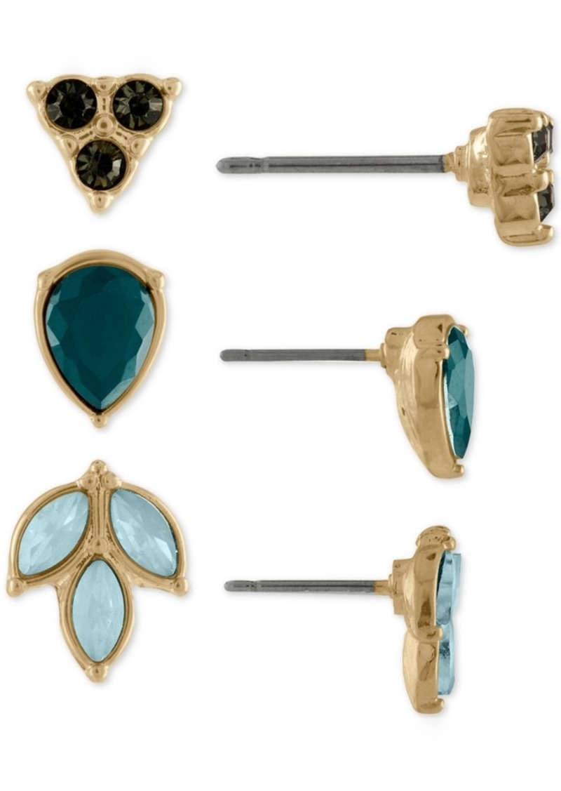 Rachel Rachel Roy Gold-Tone 3-Pc. Set Multi-Stone Leaf Stud Earrings