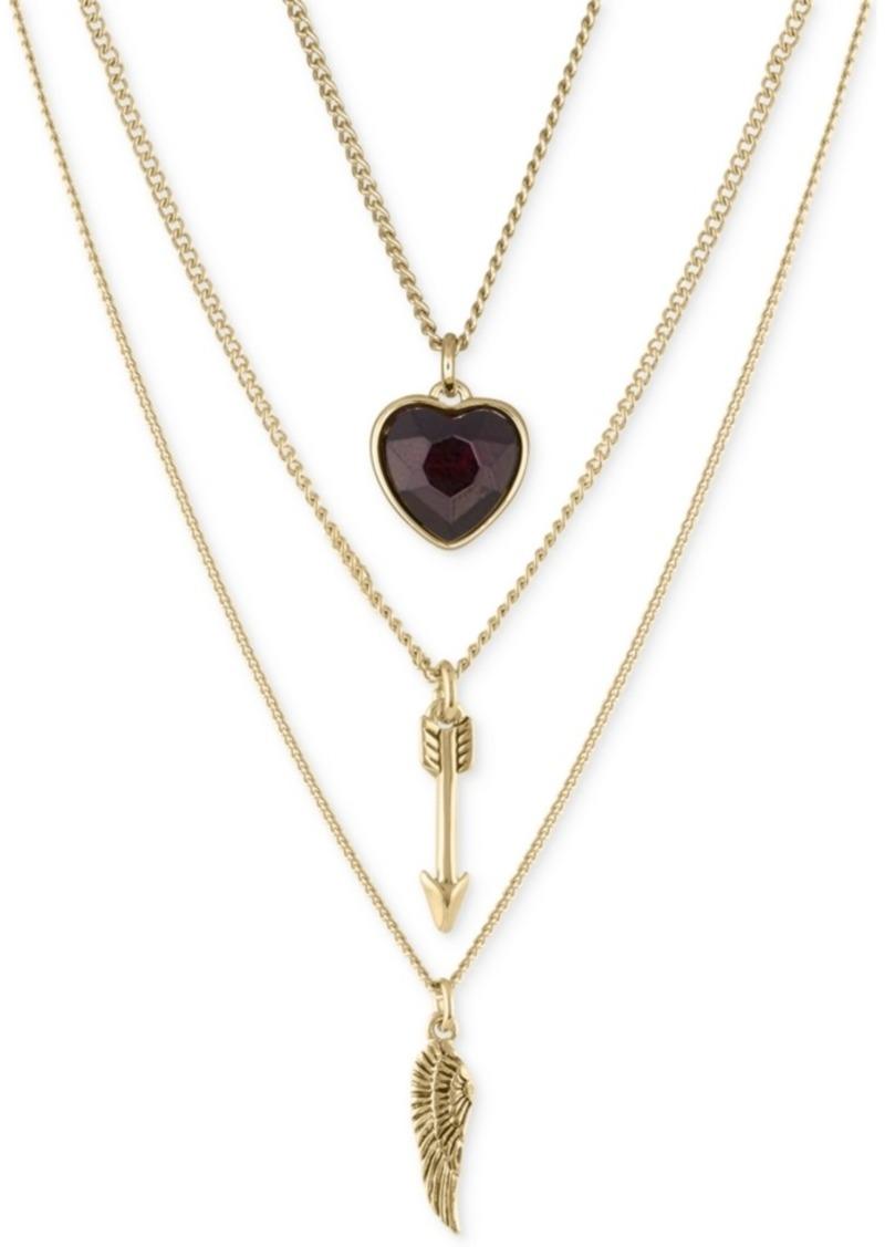 """Rachel Rachel Roy Gold-Tone 3-Pc. Set Wing, Arrow & Crystal Heart Pendant Necklaces, 16"""" + 2"""" extender"""