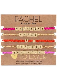 Rachel Rachel Roy Gold-Tone 5-Pc. Set Manifest Grace Beaded Stretch Bracelets