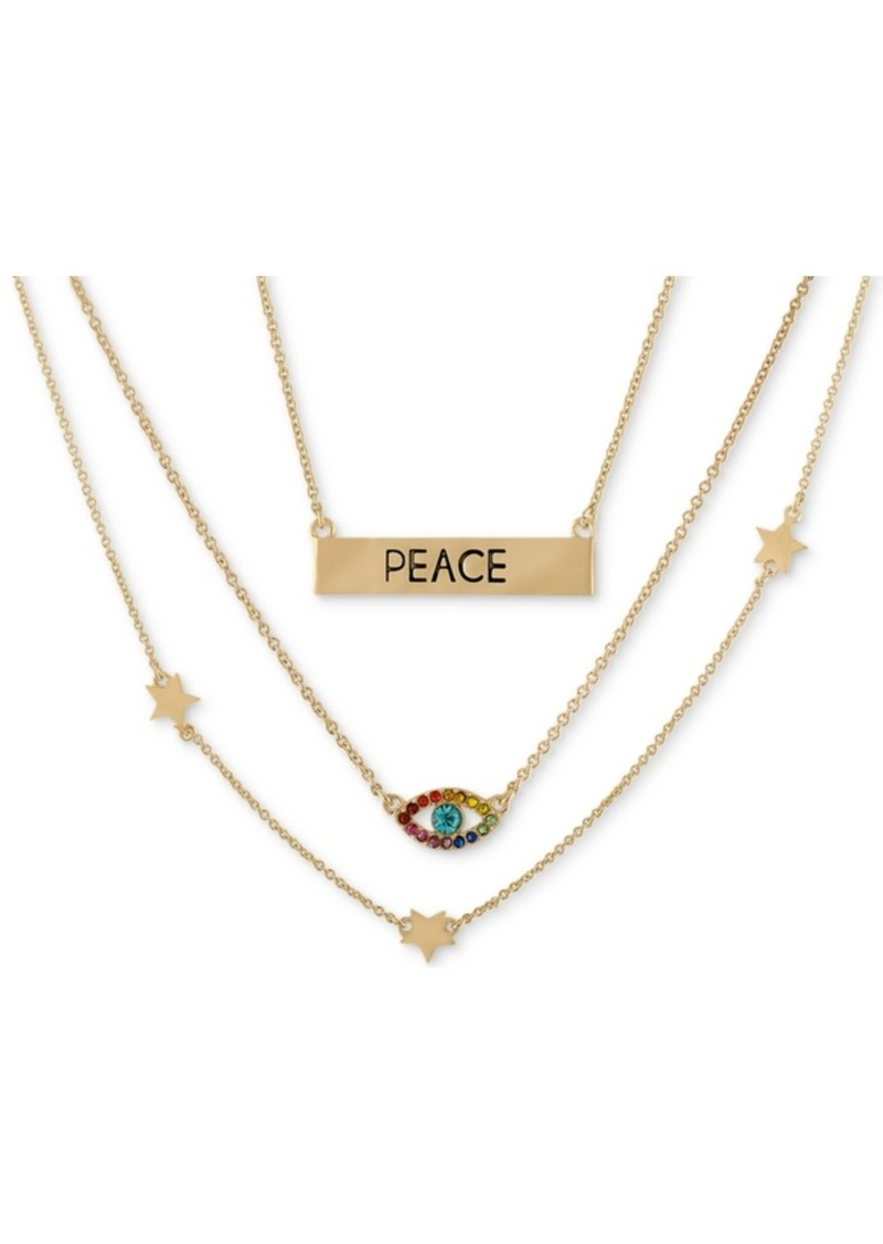 """Rachel Rachel Roy Gold-Tone Crystal Accented Layered Statement Necklace, 15-1/2"""" + 2"""" extender"""
