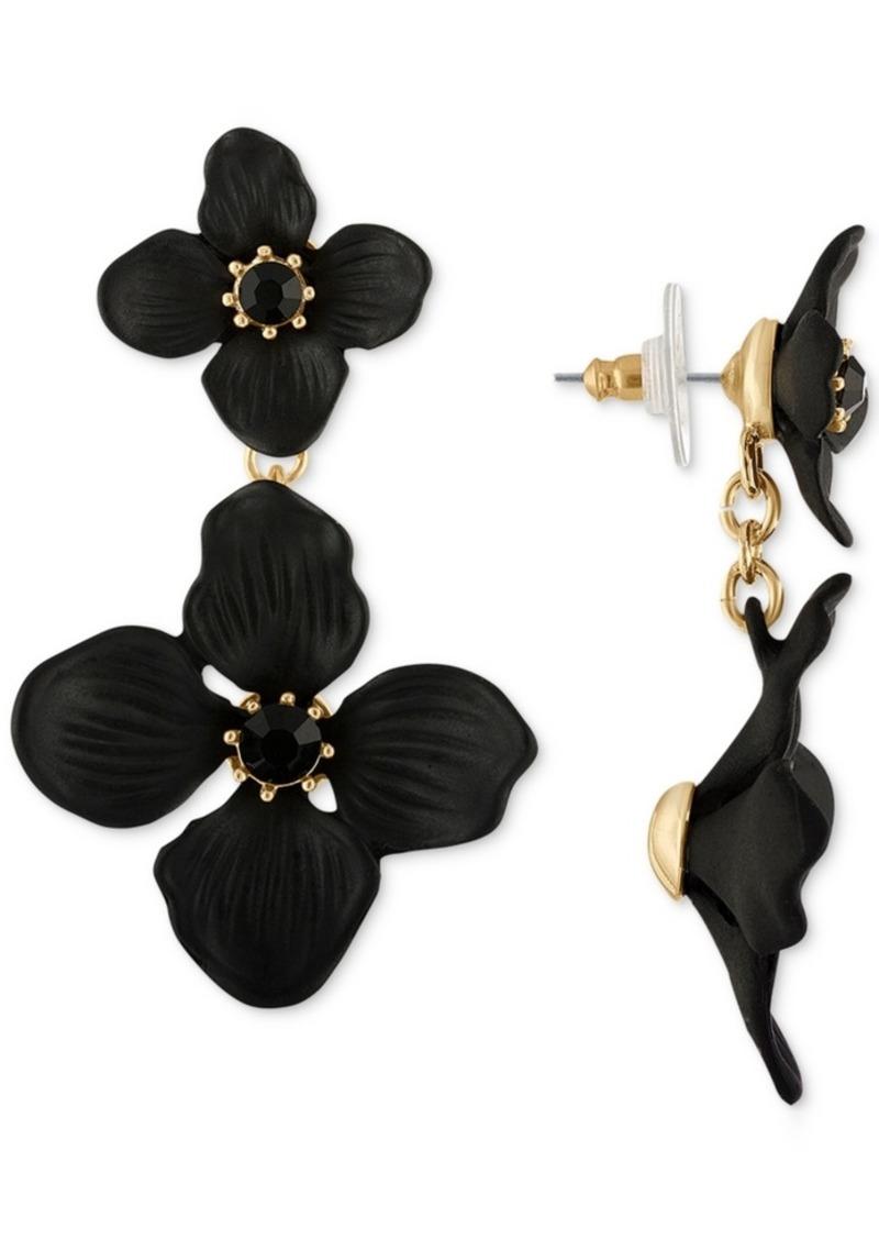 Rachel Rachel Roy Gold-Tone Crystal Flower Double Drop Earrings