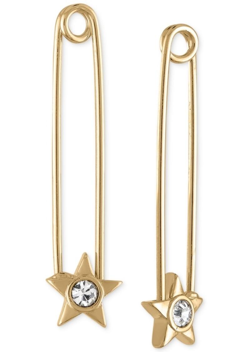 Rachel Rachel Roy Gold-Tone Crystal Star Safety Pin Earrings