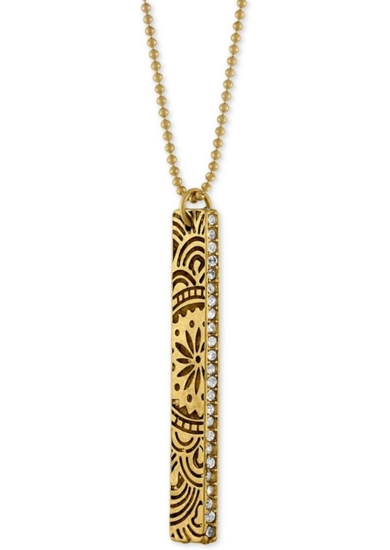 Rachel Rachel Roy Gold-Tone Crystal Studded Decorative Bar Pendant Necklace