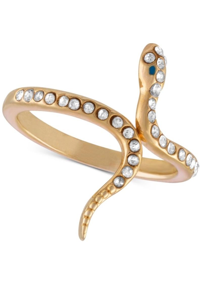 Rachel Rachel Roy Gold-Tone Crystal Studded Snake Ring