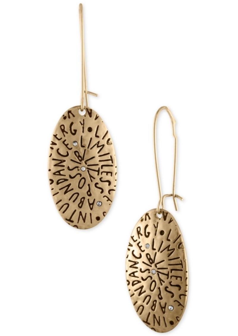 Rachel Rachel Roy Gold-Tone Etched Inspiration Drop Earrings