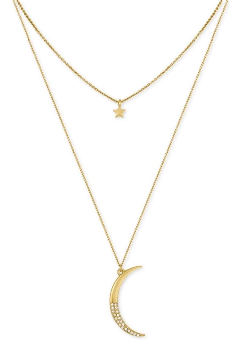 Rachel Rachel Roy Gold-Tone Moon and Star Layer Pendant Necklace