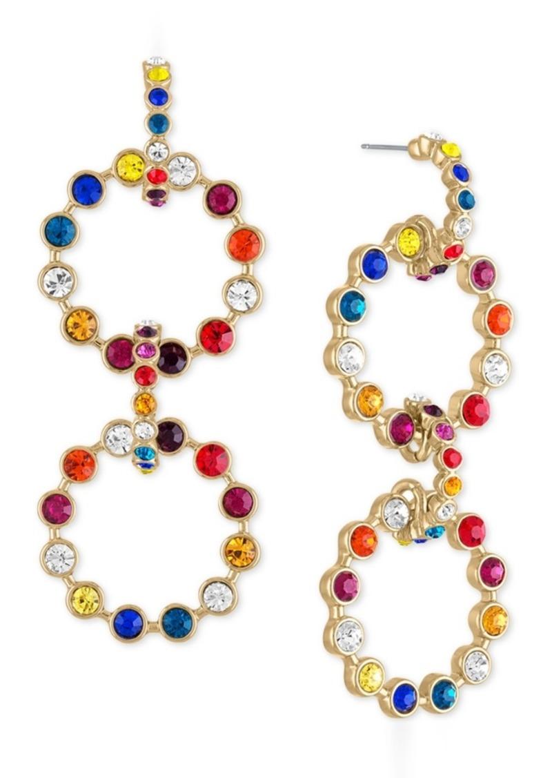 Rachel Rachel Roy Gold-Tone Multicolor Crystal & Stone Circle Drama Drop Earrings